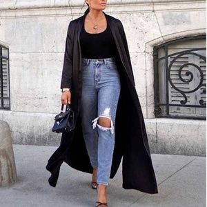 CHIC Black Satin Duster Top